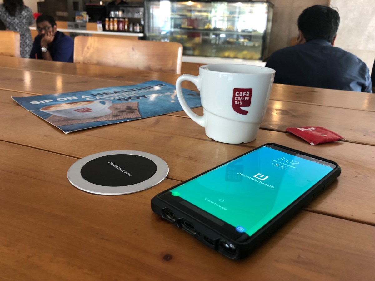 PowerSquare's Wireless Charging Spot at Cafe Coffee Day