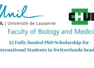 15 Fully funded PhD Scholarship for International Students