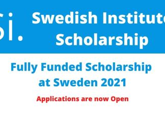 Swedish Institute Scholarship 2021