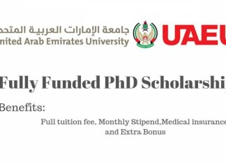 United Arab Emirates University PhD Scholarship