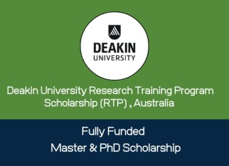 Deakin University Research Training Program Scholarship