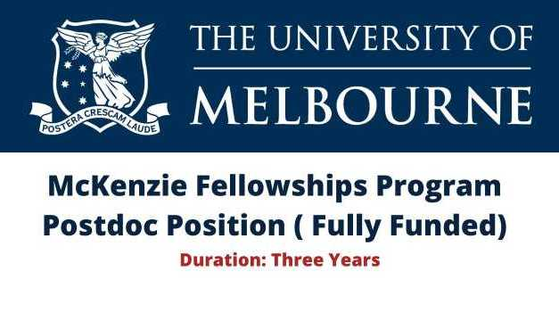 McKenzie Fellowships Program Postdoc Position in Australia 2020