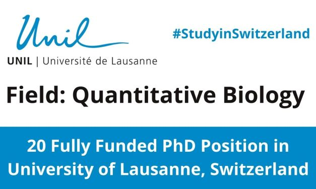 20 Fully funded PhD Scholarship for International Students in Switzerland