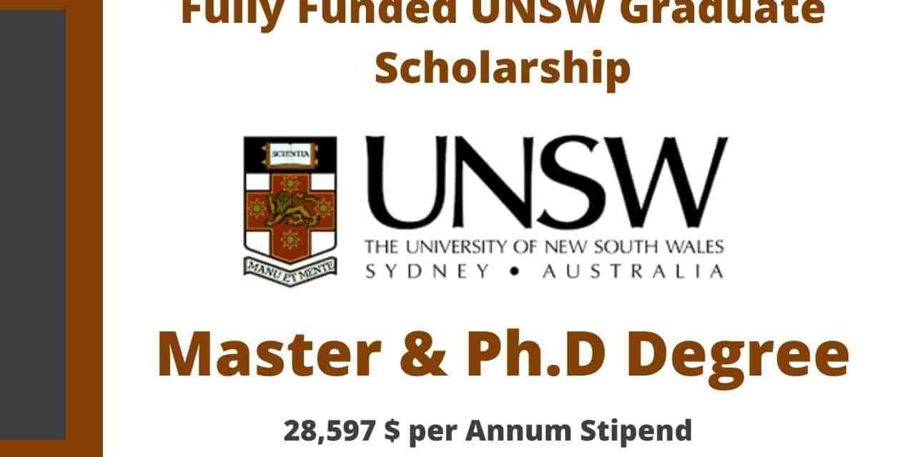 UNSW Graduate Scholarship 2021 in Australia | Fully Funded