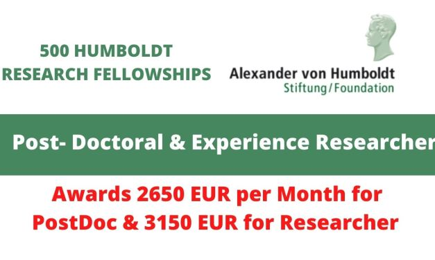 500 HUMBOLDT RESEARCH FELLOWSHIPS FOR INTERNATIONAL APPLICANTS IN GERMANY, 2021