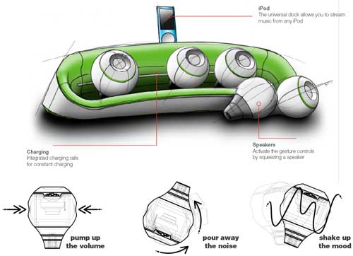 flOw interactive iPod dock, interactive wireless speakers