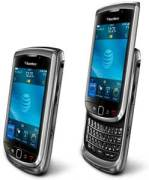 Blackberry Torch 9800 - show shows the slide-out keyboard in open and closed positions
