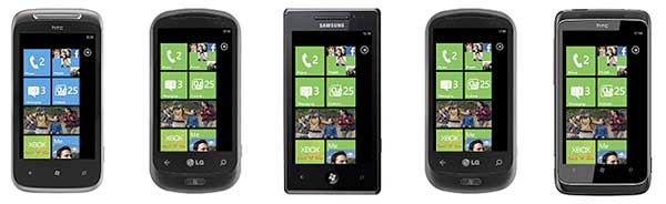 Windows Phone 7 on phones from HTC, LG and Samsung