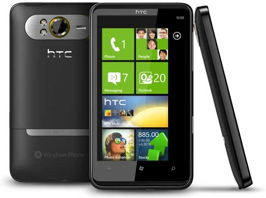 HTC HD7, front, back and side views