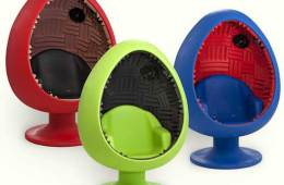 The Sound Egg by Acousticom, in red, green and blue.