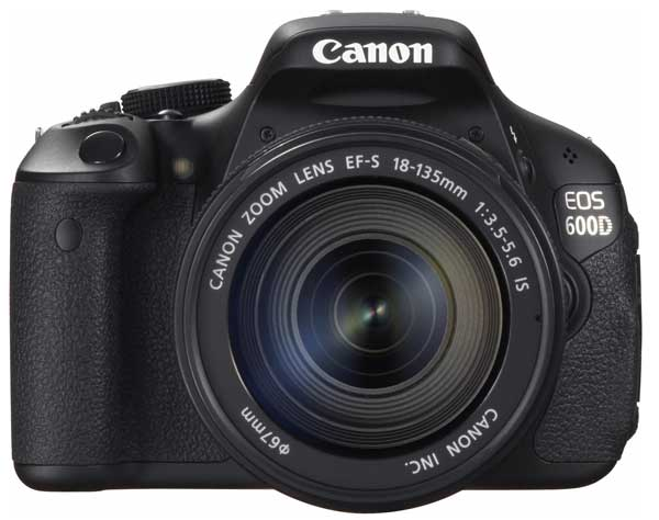 Canon EOS 600D digital SLR camera, front view