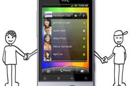 The HTC Salsa, with Facebook button