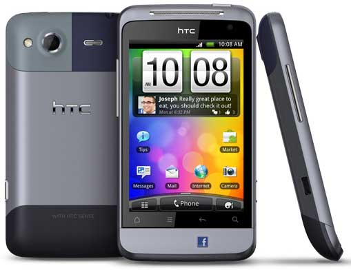 HTC Salsa, front, back and side view