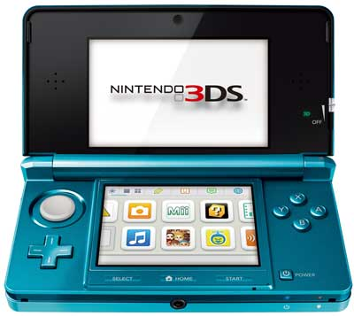 Nintendo 3DS, in Aqua Blue