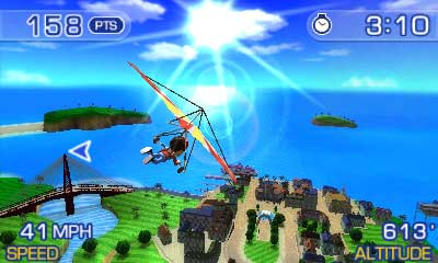 Pilotwings, a screenshot of the Nintendo 3DS game