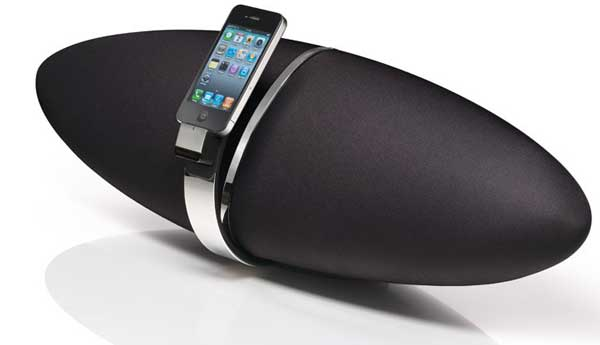 Angle shot of the Bowers & Wilkins Zeppelin Air, with an iPod in the dock