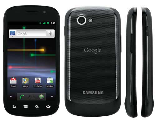 Google and Samsung's Nexus S, front, back and side views