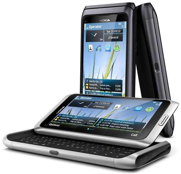 Nokia E7 smartphone, front angle with the keyboard open, plus the front and side view