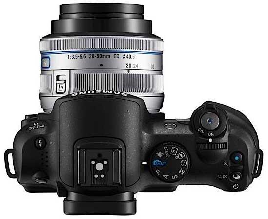 Samsung NX11 digital camera, top-down view
