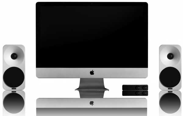 Amphion Ion speakers, with an iMac