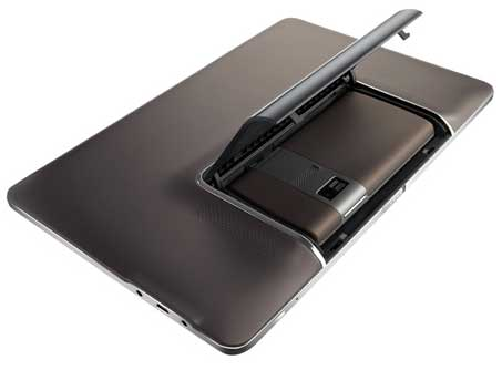Rear view of the Asus Padfone tablet computer, showing the bay that accommodates the phone