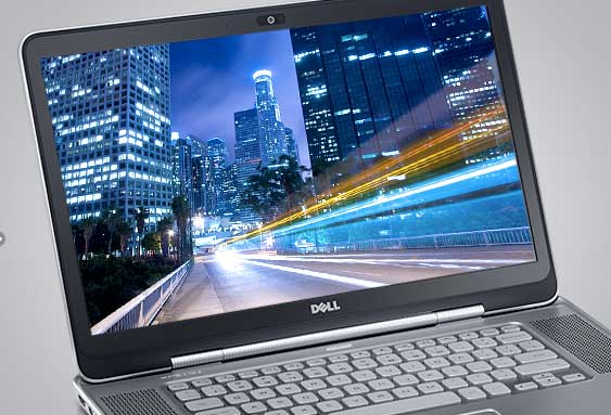 Dell XPS 15z notebook computer, screen closeup