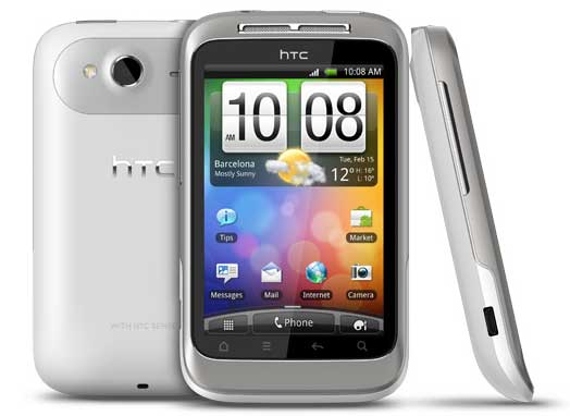 HTC Wildfire S, front, back and side views
