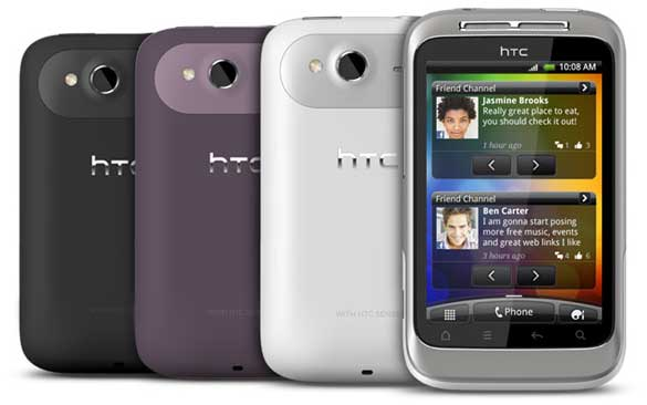 HTC Wildfire S, front and back views