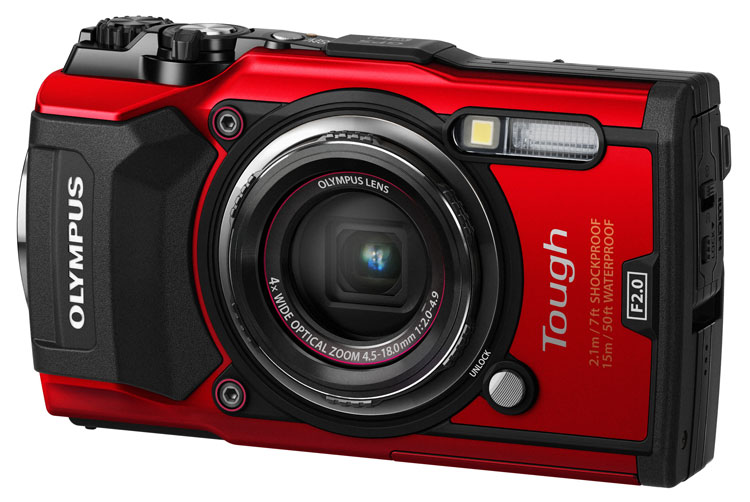 Olympus Tough TG-5 camera red front angle