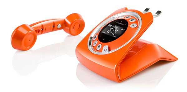Sagemcom Sixty cordless phone, orange, handset off