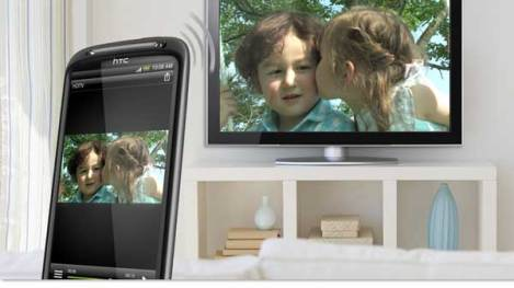 HTC Sensation, shown displaying images to a HDTV via DNLA