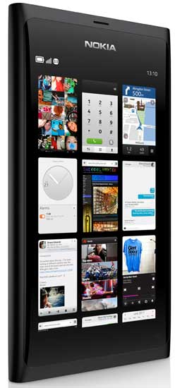 Nokia N9 in black, a shot of the recent apps homescreen