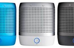 Nokia Play 360 speakers, in blue, silver and black