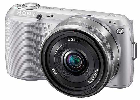 Sony NEX-C3 digital camera, silver, front angle