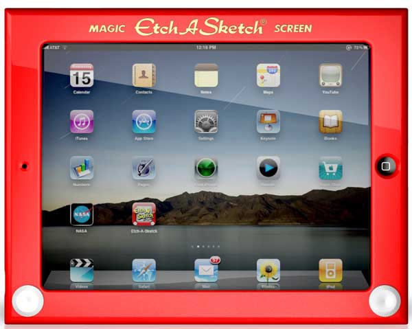 Etch A Sketch iPad case, front view