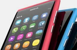 Nokia N9 smartphone, closeup view of the home screen