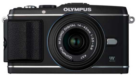 Olympus PEN E-P3 digital camera - blackr model, front view