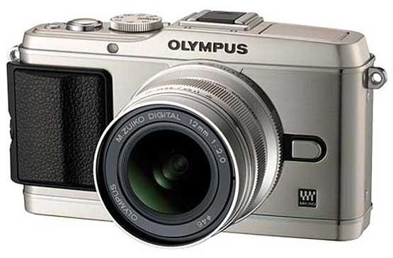 Olympus PEN E-P3 digital camera - silver model, front angle view