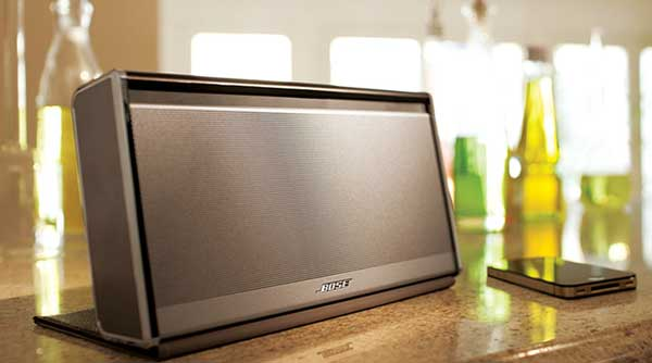 Bose SoundLink Wireless Mobile Speaker, lifestyle shot, close-up on a table top