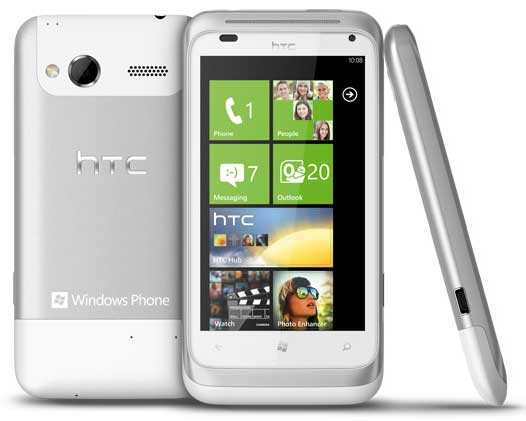 HTC Radar smartphone, front, back and side views