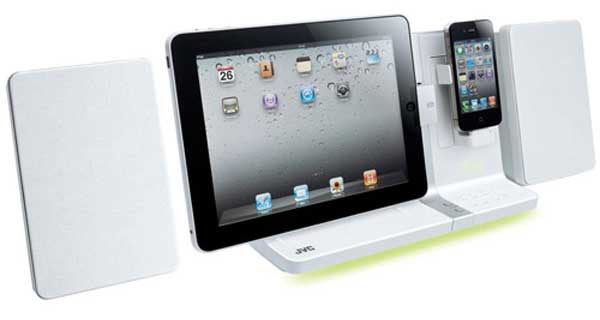 JVC UX-VJ5 iPad, iPhone and iPod dock, white, with iPad and iPod docked