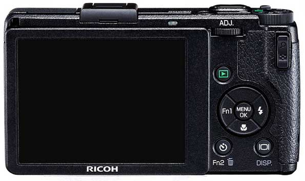Ricoh GR Digital IV digital camera, black, back view