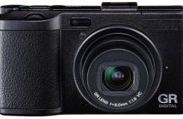 Ricoh GR Digital IV digital camera, black, front view