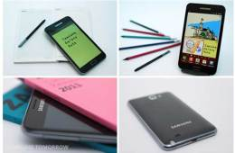 Samsung Galaxy Note, views of the back and front of the device