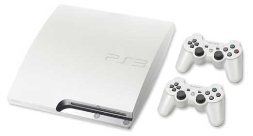 White PlayStation 3, with two DualShock controllers