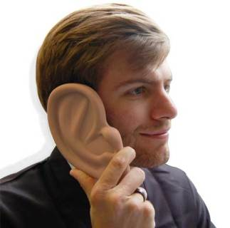 Ear iPhone Case in use, viewed from its zaniest angle
