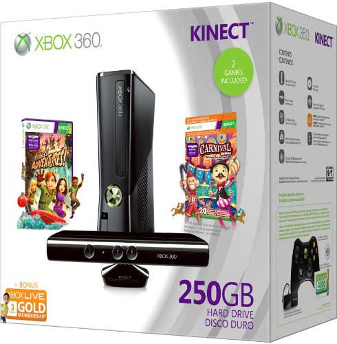 Microsoft Xbox 360  250GB Kinect holiday pack, box shot