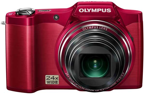 Olympus SZ14 digital camera, red, front view