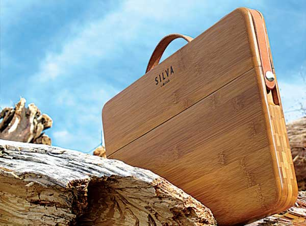 Grasswood MacBook Pro case, shown outdoors