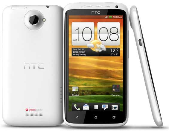 white HTC One X, front, back and side views